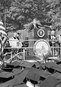President John Kennedy holds his June 10, 1963 speech at American University
