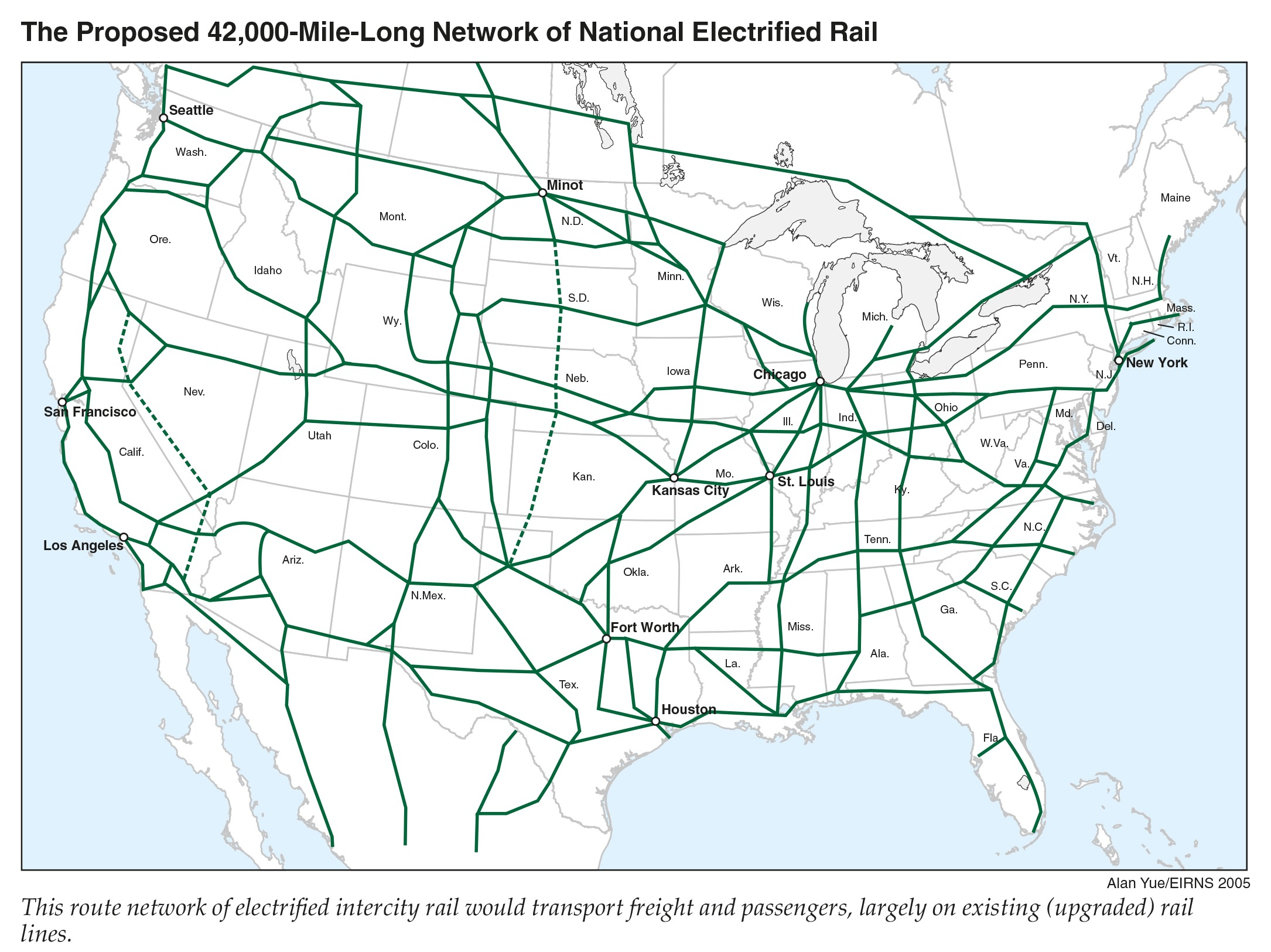 Proposed high-speed rail for US lower 48 states.