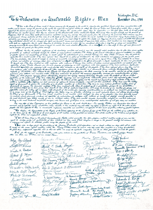 The 'Declaration of the Inalienable Rights of Man' was drafted and adopted by the international Schiller Institute as its founding document in November 1984.