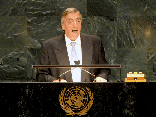 President of Argentina Nestor Kirchner calls for a new international financial architecture before the United Nations General Assembly on September 21, 2006