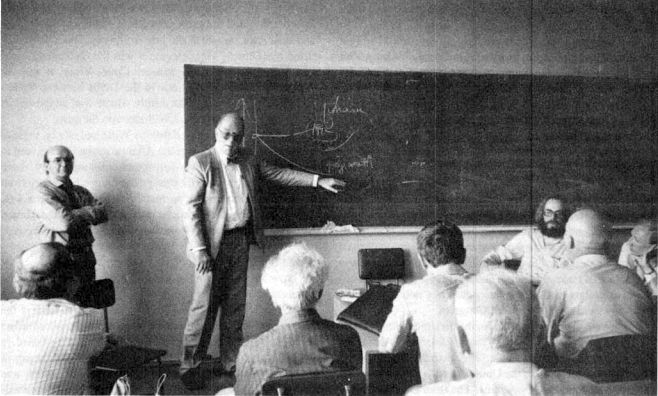 Lyndon LaRouche during his second trip to Moscow in June 1995, speaking at a seminar on physical economics sponsored by Moscow State University