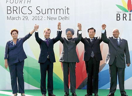 Presidents Dilma Rousseff, Dimitri Medvedev, Manmohan Singh, Hu Jintao, and Jacob Zuma all meet for the BRICS Summit in New Delhi in March 2012 and issue a call for a 'new just international financial architecture.'