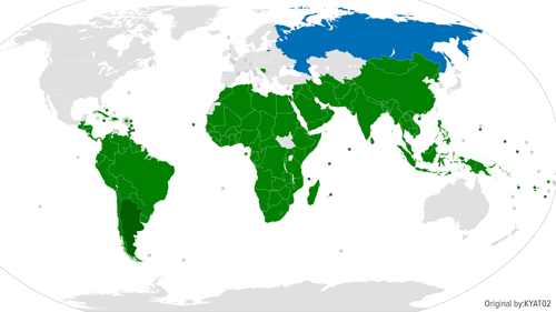The nations of the G-77 in green, plus Russia in blue, representing over 80% of the world's population, voice their unanimous support for the cause of Argentina and its resistance against the vulture funds