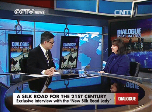 Helga Zepp-LaRouche is interviewed by Yang Rui on the prominent prime-time Chinese news program 'Dialogue' broadcast on CCTV