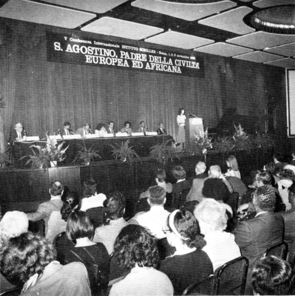 Helga Zepp-LaRouche addresses a November 1985 conference of the Schiller Institute in Rome, 'Saint Augustine, Father of European and African Civilization.'