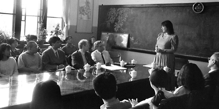 Helga Zepp-LaRouche speaking at a 1996 international symposium in China on the New Eurasian Landbridge