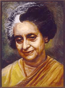 Oil portrait of Indira Gandhi, painted upon her death in 1984 by Gary Genazzio