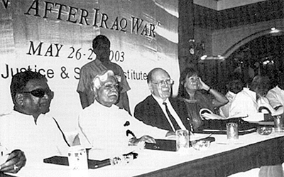 LaRouche appears at a conference in Bangalore, India along with former Secretary General of the Non-Aligned Movement, Indian Member of Parliament Natwar Singh