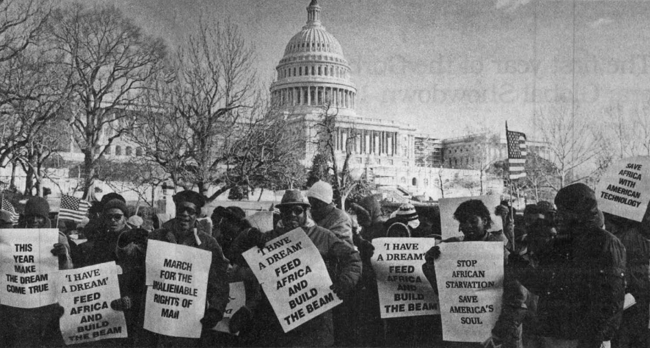 On January 15, 1985 the Schiller Institute organizes a 10,000-person 'March For The Inalienable Rights of Man' in Washington, D.C. for the creation of a new international economic order
