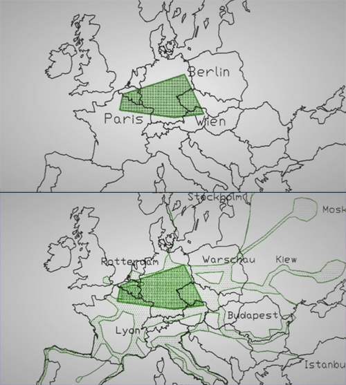 Maps of the 'Productive Triangle' concept, including radiating vectors of development into Eastern and Southern Europe
