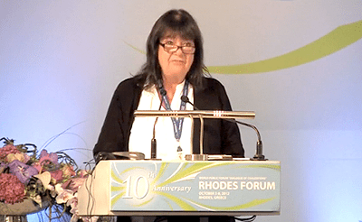 Helga LaRouche speaks at 'Dialogue of Civilizations' conference in Rhodes, Greece of the World Public Forum in October 2009