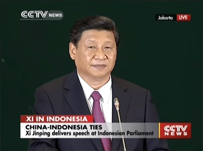 Xi Jingping becomes the first foreign head of state to address the Indonesian Parliament, proposing a policy to develop the 'Maritime Silk Road of the 21st Century.